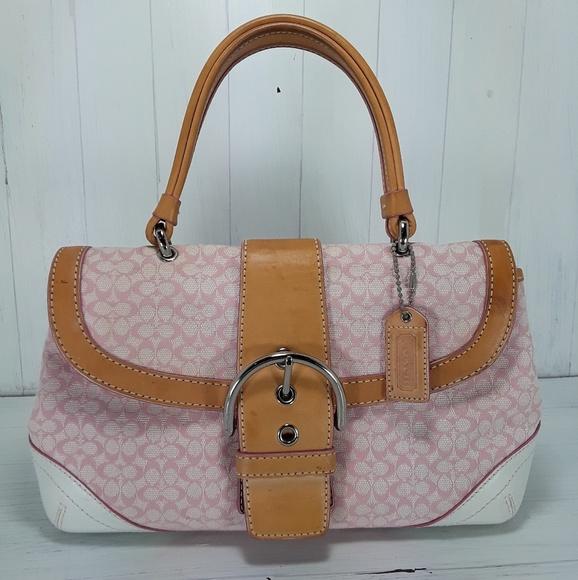 e36c3d34b32 Coach Bags   Pink Canvas Leather Trim Small Bag   Poshmark